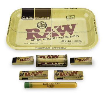 RAW Rolling Tray Combo Includes Tray, 1 1/4 (79MM) Classic Papers, Roller, Tips, and Roll With Us Doobtube (small)