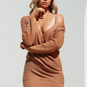Either Way Knit Dress (Brown)