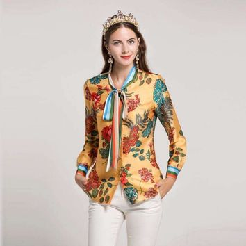 Women's Summer Bow Collar Long Sleeve Floral Printed Runway Shirts All-Match Blouses