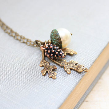 Nature Charm Necklace Pearl Acorn Pendant Copper Pine Cone Pinecone Antique Gold Brass Leaf Rustic Woodland Acessories Long Necklace