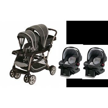 Graco Glacier Baby, Infant Double Twin Stroller Travel System with 2 Infant Car Seats