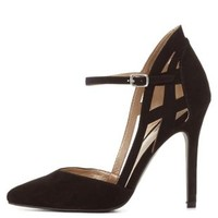 Black Caged Heel Pointed Toe Pumps by Charlotte Russe