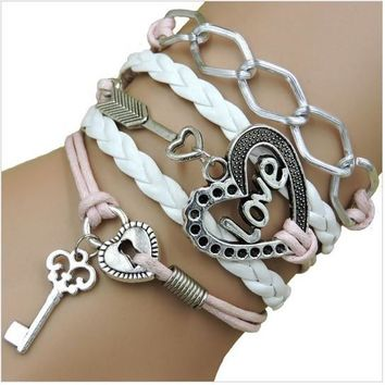 Rope Bracelet Pink and White Key to my Heart