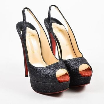 PEAP Black and Red Glitter Christian Louboutin   Lady Peep Sling 150   Pumps