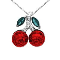 Sterling Silver with Swarovski Elements Red Cherries Pendant Necklace, 18""