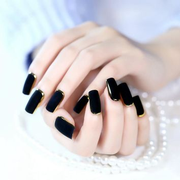 Small Fake Nails Long Size Black Gold French Nails Square Matte Press On Nails Tips including Glue Sticker Z445
