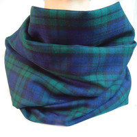 BlackWatch Tartan Infinity Scarf, Plaid Scarf, Green & Navy Blue, Back to School,Womens Scarf, Oversized Scarf, Gift, Extra Long,Fall Winter