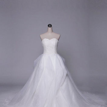 White Lace Halter Tulle Wedding dress S92