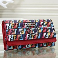 FENDI Women Fashion Print Leather Purse Wallet