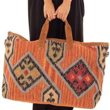 Rust Aztec Inspired Over-sized Tote with Leather Straps