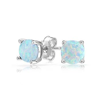 Unique In Style Trendy Earrings Opal Created 6mm Stud Earring 14K White Gold Plated
