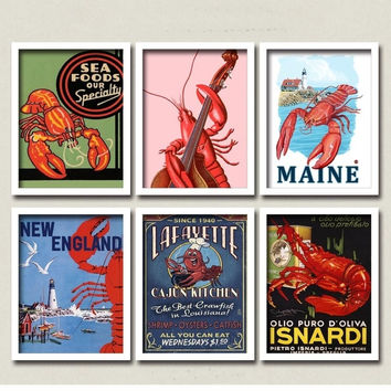 Maine Seafood Boston Lobster Bisque Canvas Posters DIY Retro Wall Decor For  Coffee Club Cafe Cajun