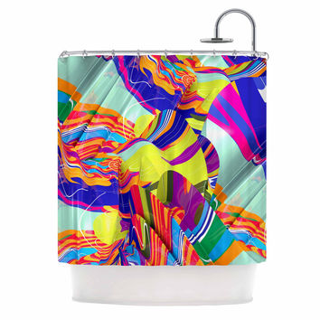 """Danny Ivan """"To Swim"""" Blue Abstract Shower Curtain"""