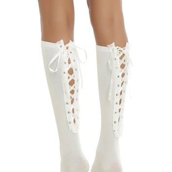 Blackheart Cream Lace-Up Knee-High Socks