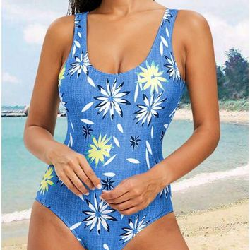 C| Chicloth Floral Striped Halter One Piece Swimsuit