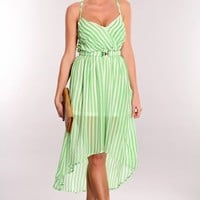 Lime White Sheer High Low Hem Dress