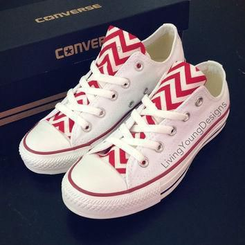 red chevron converse low top sneakers white custom chuck taylors