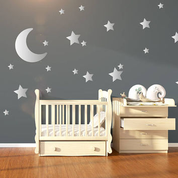 Large Moon U0026 21 Silver Stars Nursery Wall Decals, Nursery Wall Stickers, Baby  Wall
