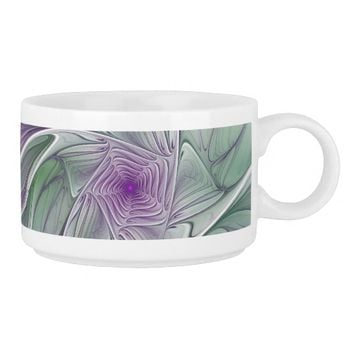 Flower Dream, Abstract Purple Green Fractal Art Bowl