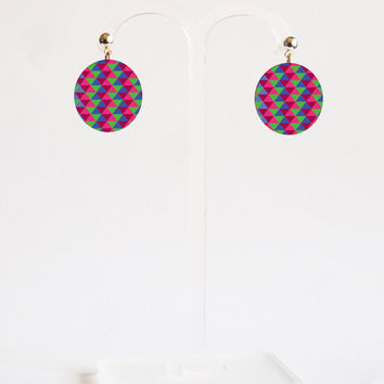 Metal Earrings - FREE shipping to USA stud dangle earrings dye sublimation geometric jewelry colorful earrings flat earrings original art