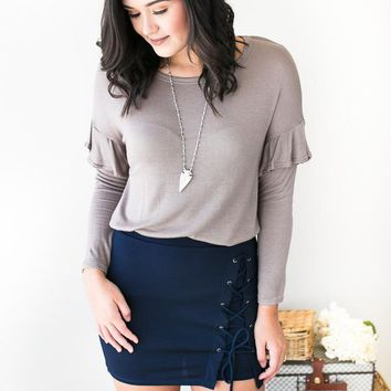 Navy Stories Lace up Skirt