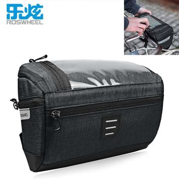 ROSWHEEL 3L Capacity Bike Front Handlebar Bag Bicycle Basket 300D Polyester Waterproof Bicycle Bags Transparent PVC Touch Screen