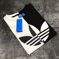 Black&White Contrast ADIDAS Women Men Tee Shirt Top B-LWWM-SZ White