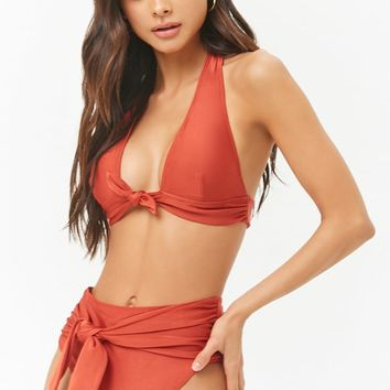 Sheeny Tie-Front High Waist Bikini Bottoms