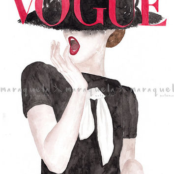 Original Vogue Cover German Watercolour Handmade.Fashion art wall, Illustration Prints, Art German Vogue painting, Girls Room Decor