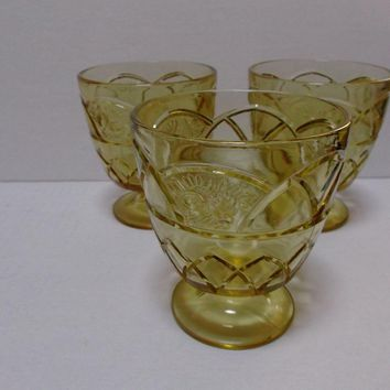 Federal Glass Rosemary Dutch Rose Amber Sugar Bowls Sherbets Three
