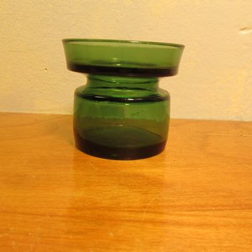 MADE IN DENMARK VINTAGE GREEN VOTIVE CANDLE HOLDER DANSK