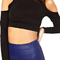 ROMWE Off Shoulder Midriff Slim Black T-shirt