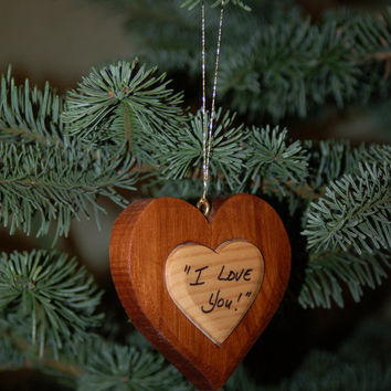 HEART CHRISTMAS ORNAMENT Carving. This wooden heart will be a treasured holiday decor.