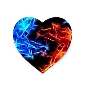 flames of good and evil heart sticker
