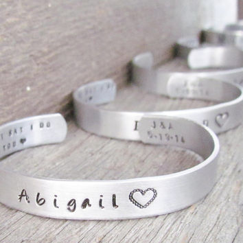 SET of 4 CUSTOM Bracelets Personalized Hand Stamped Jewelry Cuff I Couldn't Say I Do Without You Wedding Party Maid of Honor Matron