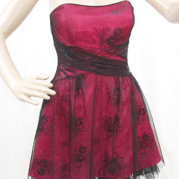 Red Dress with Black Tulle