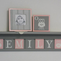 """Owl Personalized Name Shelves, Baby Girl Nursery Block Plates Customized for EMILY with Owls, 7 Light Pink and Gray Tiles on 30"""" Grey shelf"""