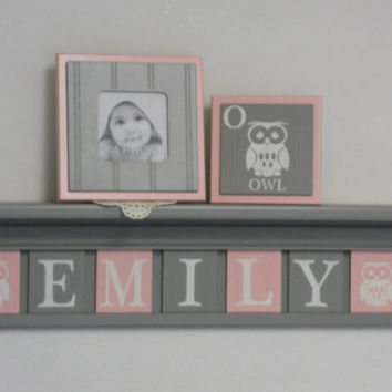"Owl Personalized Name Shelves, Baby Girl Nursery Block Plates Customized for EMILY with Owls, 7 Light Pink and Gray Tiles on 30"" Grey shelf"