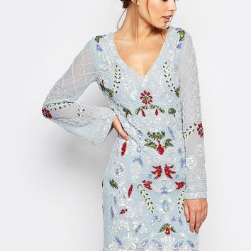 Frock and Frill Long Sleeve Embellished Cut Out Back Mini Dress