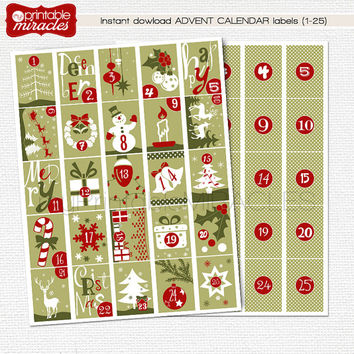 Printable advent calendar, December planner stickers, DIY Christmas Countdown, green red white colors