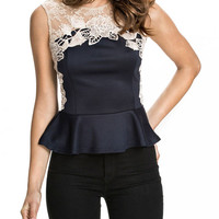 Sleeveless Lace Embroidered Cutout Peplum Top