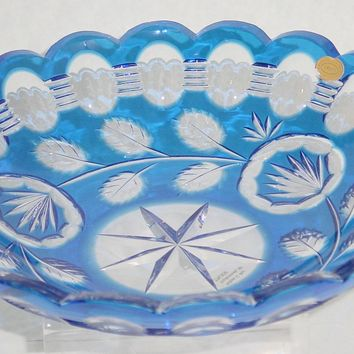 776020 Cobalt Over Crystal Deep Cut Dish, 20 Oval Cuts At Top, Cut