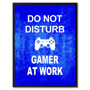Don't Disturb Gamer Funny Sign Blue Print on Canvas Picture Frames Home Decor Wall Art Gifts 91803