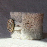 Eva, a textile art cuff - bridesmaid cuff