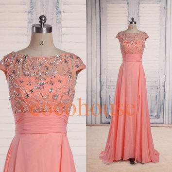 Coral Beaded Long Fashion Prom Dresses Bridesmaid Dresses 2015 Homecoming Dresses Evening Dresses Hot Party Dresses Wedding Party Dresses