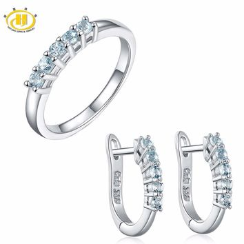 Hutang 0.54ct Natural Gemstone Aquamarine Ring & Hoop Earrings Solid 925 Sterling Silver Fine Bridal Jewelry Sets For Gift