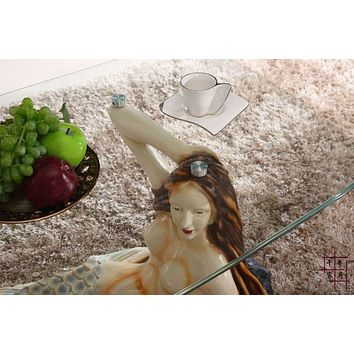Antique Mermaid Statue Based  Glass  Coffee Table