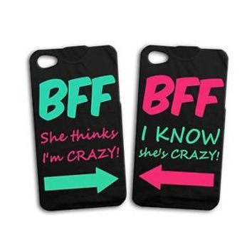 Fun Cute Funny Best Friend Girl Pair Case BFF iPhone iPod Black Phone Cover Cool