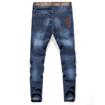 Vintage Blue VERSACE Fashion Men Denim Pants Jeans
