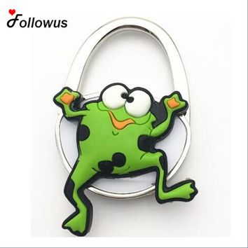 Green Frog Cute Gift Portable Folding Rhinestone Crystal Alloy Purse Handbag Bag Hanger Hook Holder Newest Bag Parts Party